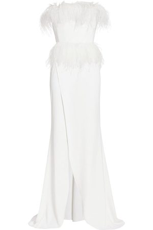 Elie saab Women's Strapless Crepe & Feather Gown - Optic - Size 2