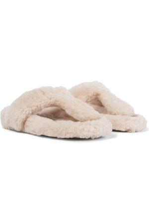 Aquazzura Women Flat Shoes - Relax Flat Footbed shearling slides