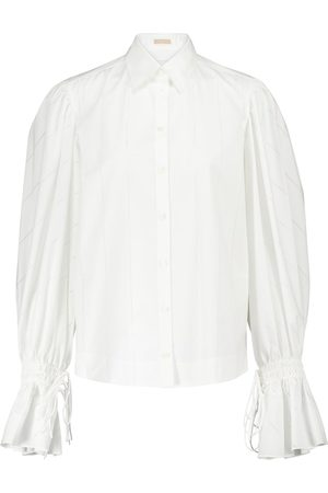 Alaïa Laser-cut cotton-poplin shirt