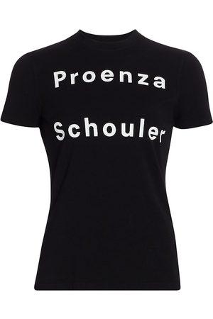 PROENZA SCHOULER WHITE LABEL Women's Stretch Jersey Logo T-Shirt - - Size Small