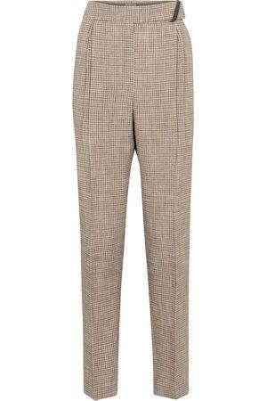 Brunello Cucinelli Checked linen-blend pants