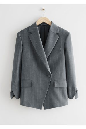 & OTHER STORIES Women Blazers - Oversized Asymmetric Pinstripe Blazer - Grey