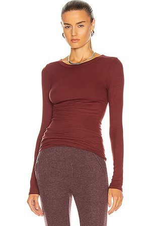 ENZA COSTA Silk Rib Fitted Long Sleeve Crew Tee in