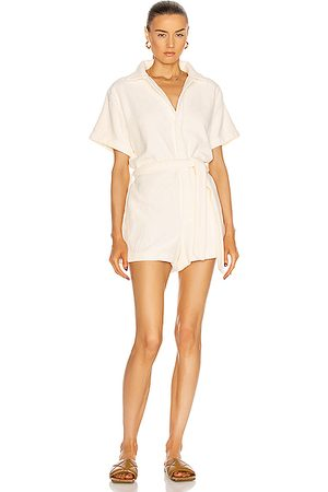 TERRY Belted Romper in White