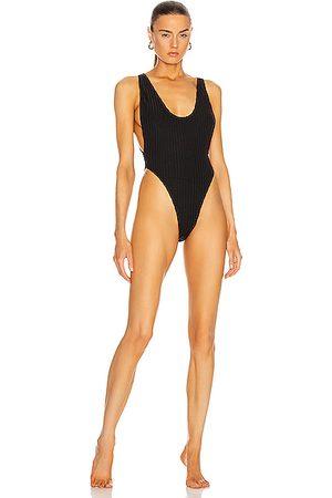 MATTHEW BRUCH Savannah Rib Knit One Piece Swimsuit in