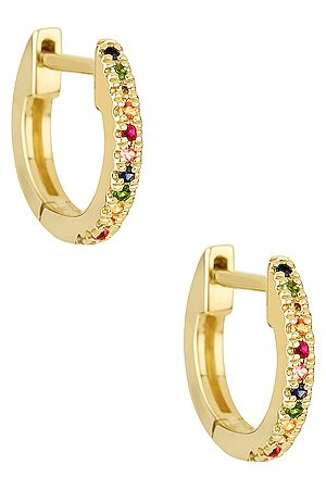 STONE AND STRAND Rainbow Sapphire Pave Huggie Earrings in Metallic