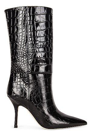 PARIS TEXAS Embossed Croco Mama Mid Calf Boot in Black
