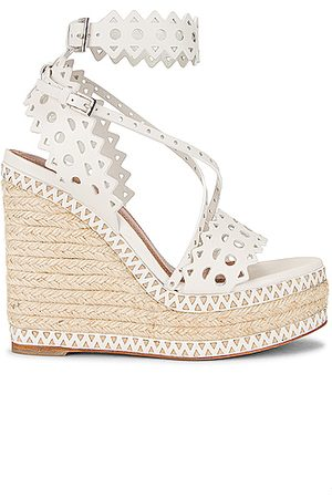 Alaïa Leather Laser Cut Espadrille Wedges in