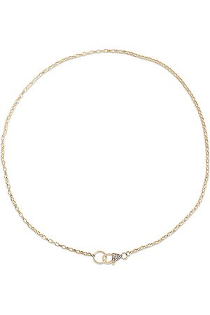 STONE AND STRAND Luxe Diamond Chain Lariat Necklace in Metallic