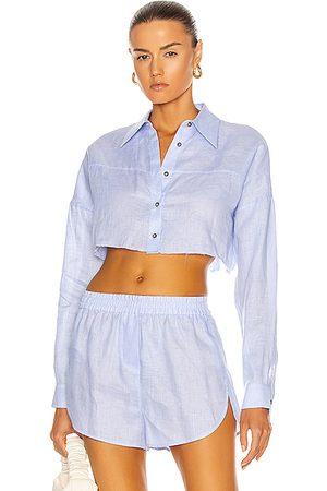 Zeynep Arcay Linen Crop Shirt in