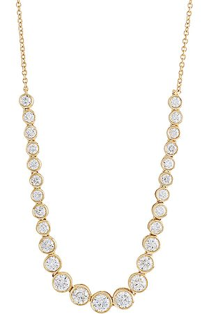 STONE AND STRAND Let It Slide Diamond Tennis Necklace in Metallic Gold