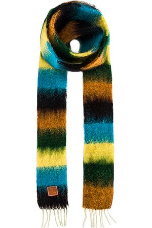 Loewe Stripe Mohair Scarf in Blue,Yellow,Stripes