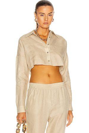 Zeynep Arcay Linen Crop Shirt in Neutral,Tan