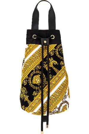 VERSACE Baroque Beach Bag in Abstract,Paisley,Yellow