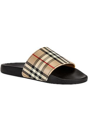Burberry Furley M Check Slide in Neutral,Plaid