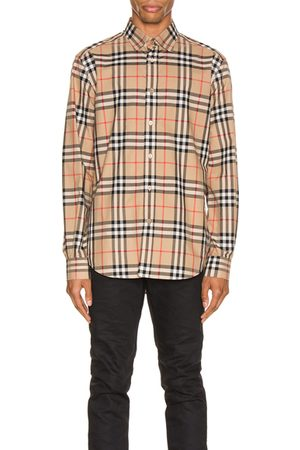 Burberry Men Long sleeves - Long Sleeve Shirt in Neutral,Plaid