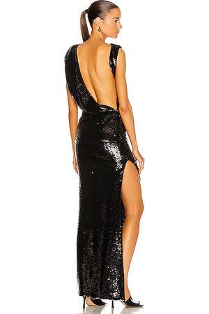 ATTICO Asymmetrical Draped Sequin Gown in