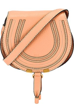 Chloé Small Marcie Grained Calfskin Saddle Bag in Pink