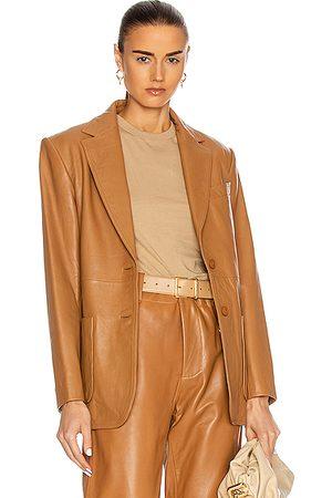 Alberta Ferretti Leather Blazer in ,Neutral