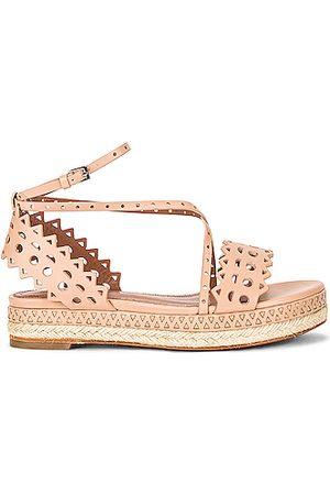Alaïa Leather Laser Cut Espadrille Sandals