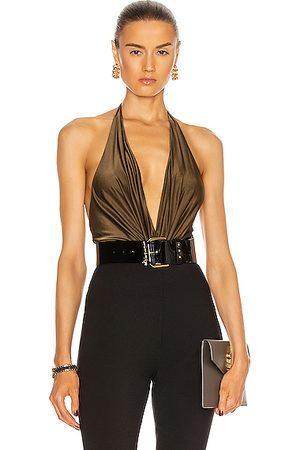 ALEXANDRE VAUTHIER Plunging Sleeveless Bodysuit in Metallic