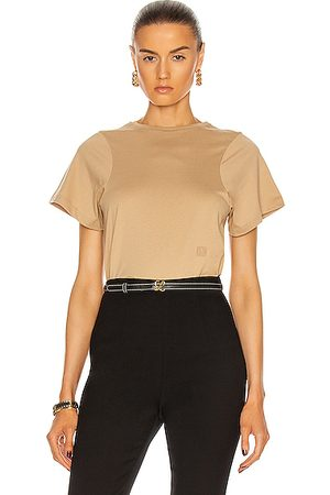 Totême Curved Seam Tee in Brown,Neutral