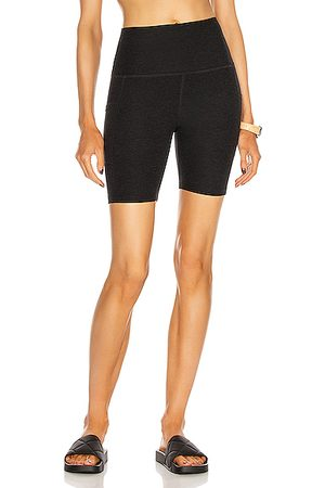 Beyond Yoga Spacedye Team Pockets High Waisted Biker Short in Black