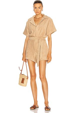 TERRY Belted Romper in Neutral
