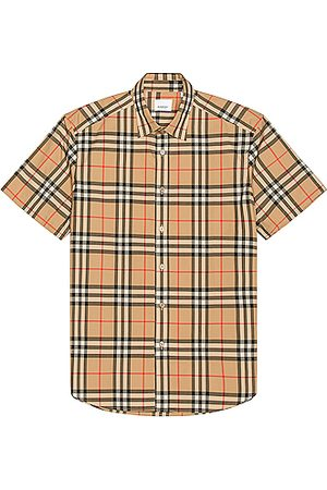 Burberry Men Short sleeves - Caxton Short Sleeve Check Shirt in Neutral,Plaid