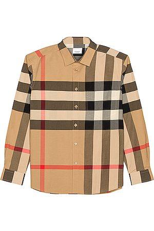 Burberry Men Long sleeves - Somerton Check Shirt in Neutral,Plaid