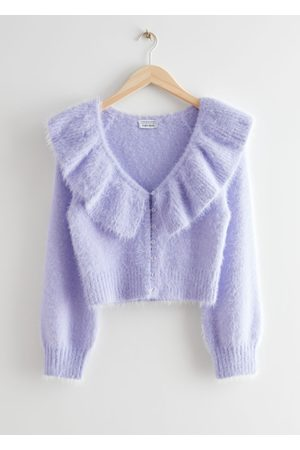 & OTHER STORIES Fuzzy Cropped Ruffle Collar Cardigan