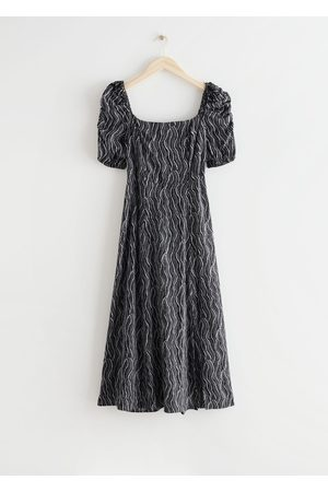 & OTHER STORIES Puff Shoulder Crepe Midi Dress