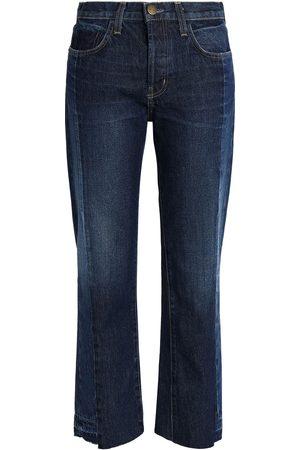 Current/Elliott Woman Two-tone Mid-rise Straight-leg Jeans Dark Denim Size 25