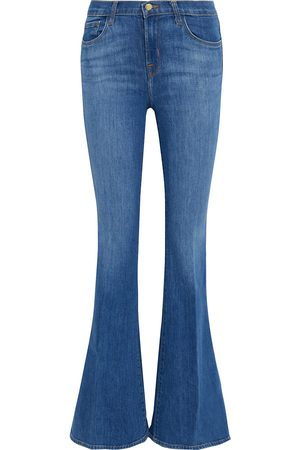J Brand Women High Waisted - Woman Valentina High-rise Flared Jeans Mid Denim Size 24
