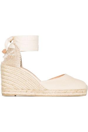 Castaner Carina 80mm ankle-tie wedge sandals - Neutrals