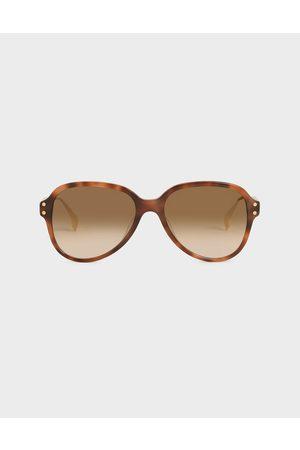 CHARLES & KEITH Aviators - Tortoiseshell Acetate Aviator Sunglasses