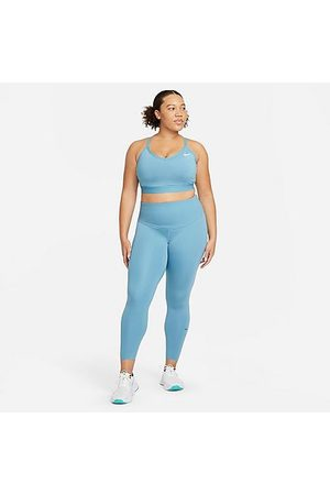 Nike Women's One Luxe Cropped Tights (Plus Size) in /Cerulean Size Extra Large Polyester/Spandex/Silk
