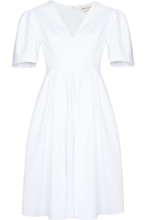 Alexander McQueen V-neck cotton midi dress