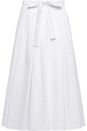 Prada Pleated poplin midi skirt