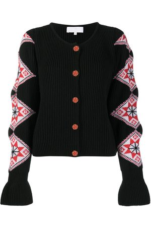 AMI AMALIA Intarsia-sleeves ribbed cardigan