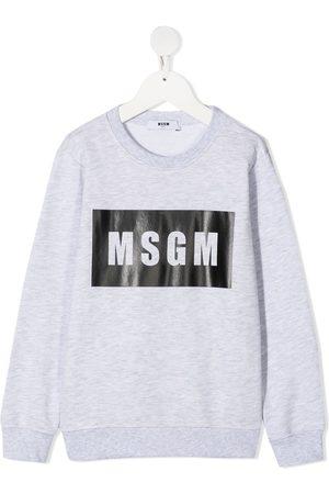 Msgm Logo-print cotton sweatshirt - Grey