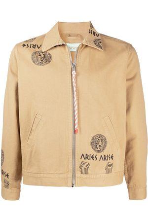 ARIES Temple print zipped denim jacket - Neutrals