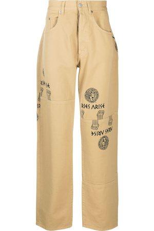 ARIES Logo graphic print straight-leg jeans - Neutrals