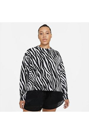 Nike Women's Sportswear Icon Clash Animal Print Crew Sweatshirt (Plus Size) in / /Animal Print/Purple Chalk Size Extra Large Cotton/Polyester/Fleece