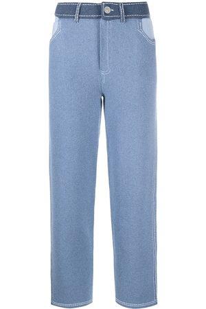 Barrie High-waist patchwork trousers