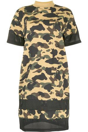 A Bathing Ape Camouflage print T-shirt dress