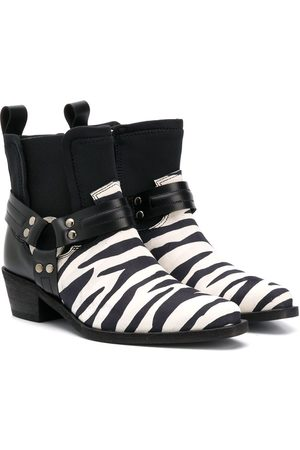 CINZIA ARAIA Ankle Boots - TEEN zebra-stripe leather boots