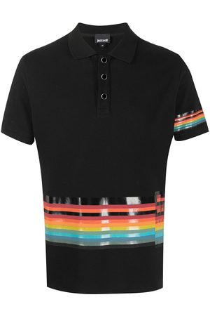Roberto Cavalli Rainbow-striped polo shirt