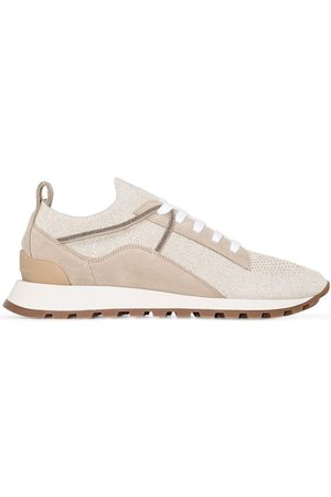 Brunello Cucinelli Suede panelled knit sneakers