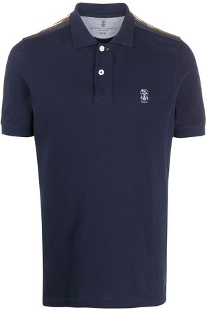 Brunello Cucinelli Striped-panel short sleeved polo shirt